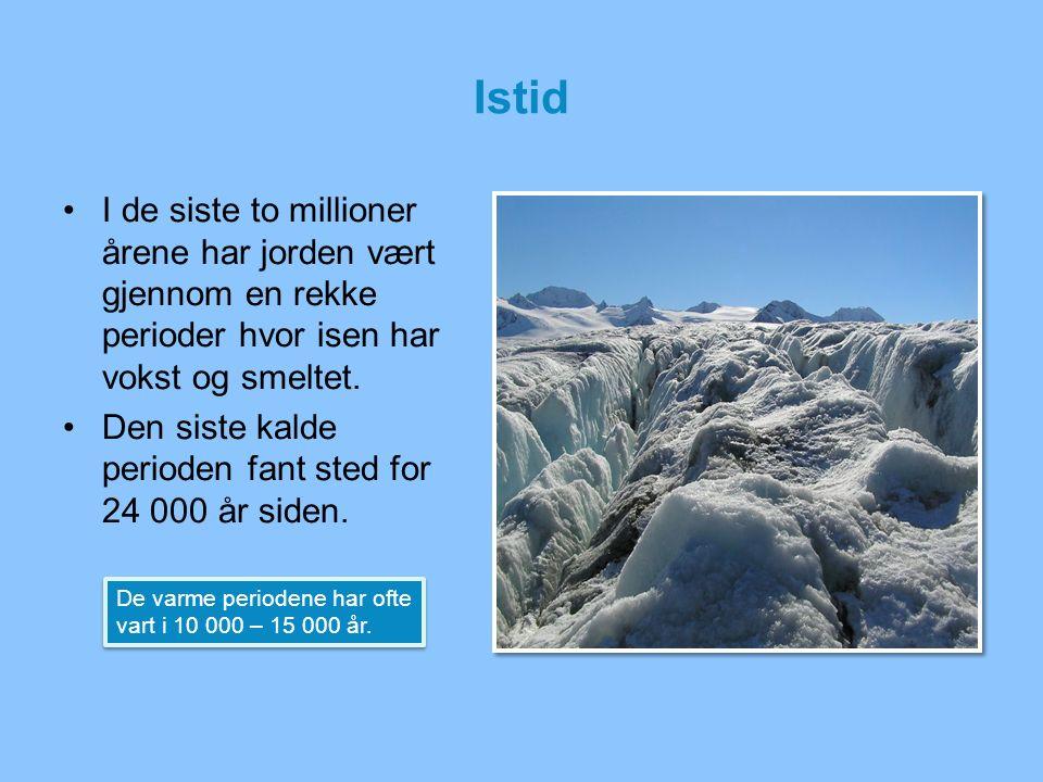 Istid I de siste to millioner årene har jorden vært gjennom en rekke perioder hvor isen har vokst og smeltet. Den siste kalde perioden fant sted for 2