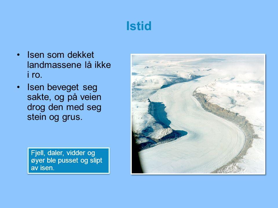Istid Isen som dekket landmassene lå ikke i ro. Isen beveget seg sakte, og på veien drog den med seg stein og grus. Fjell, daler, vidder og øyer ble p
