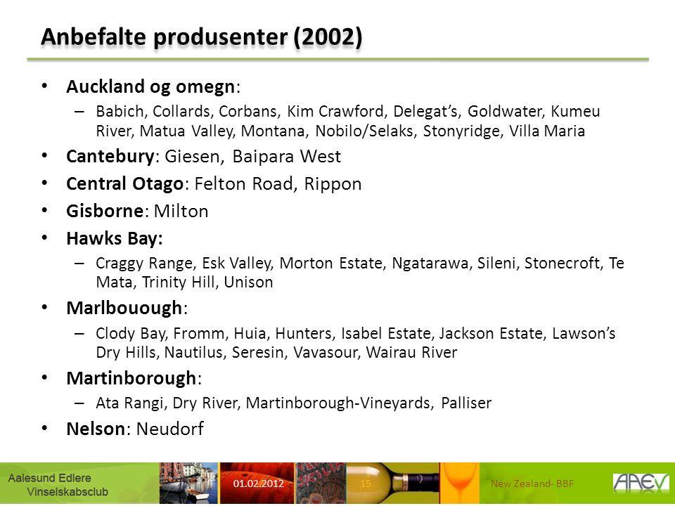Anbefalte produsenter (2002) Auckland og omegn: – Babich, Collards, Corbans, Kim Crawford, Delegat's, Goldwater, Kumeu River, Matua Valley, Montana, N