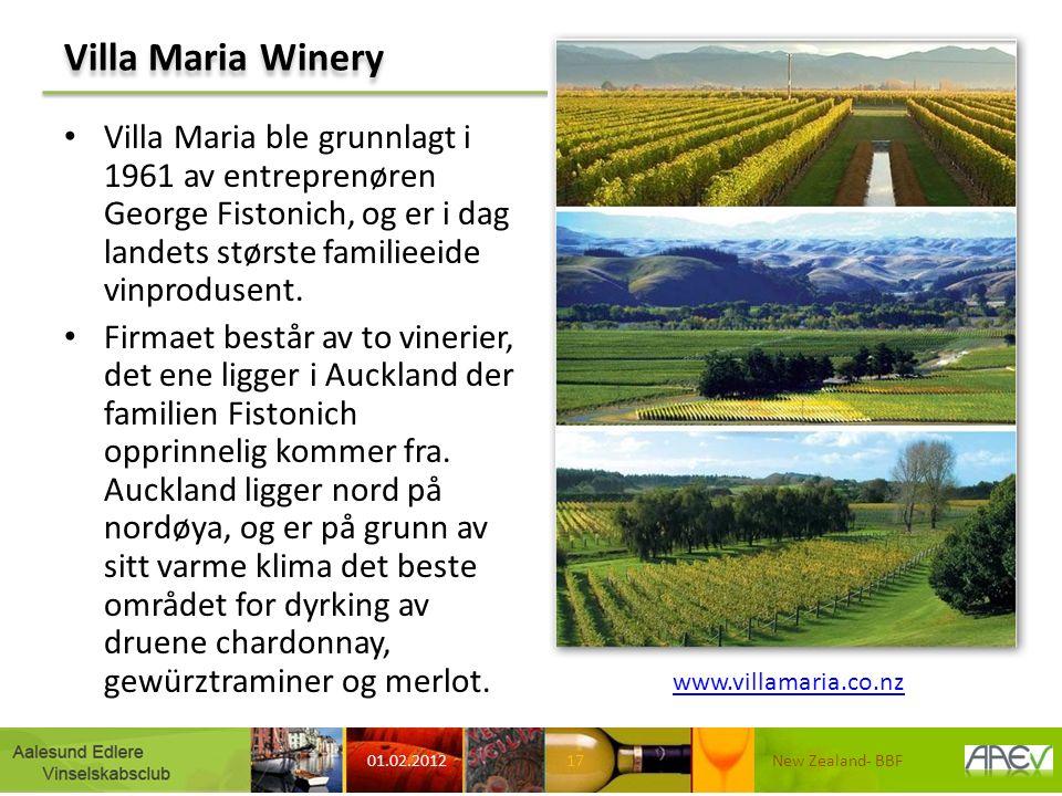 Villa Maria Winery Villa Maria ble grunnlagt i 1961 av entreprenøren George Fistonich, og er i dag landets største familieeide vinprodusent.