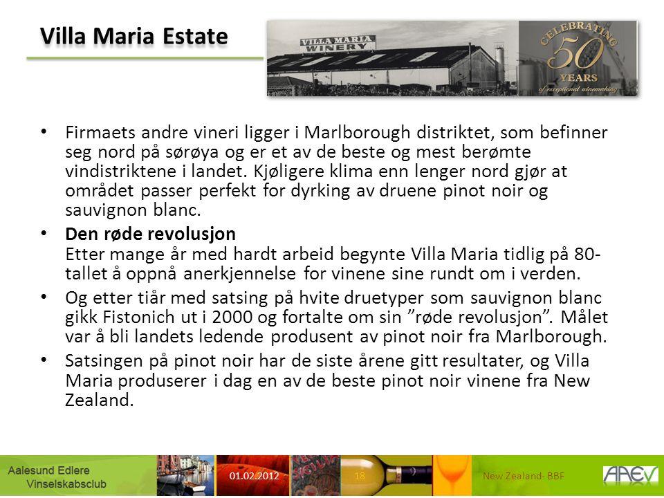 Villa Maria Estate Firmaets andre vineri ligger i Marlborough distriktet, som befinner seg nord på sørøya og er et av de beste og mest berømte vindistriktene i landet.