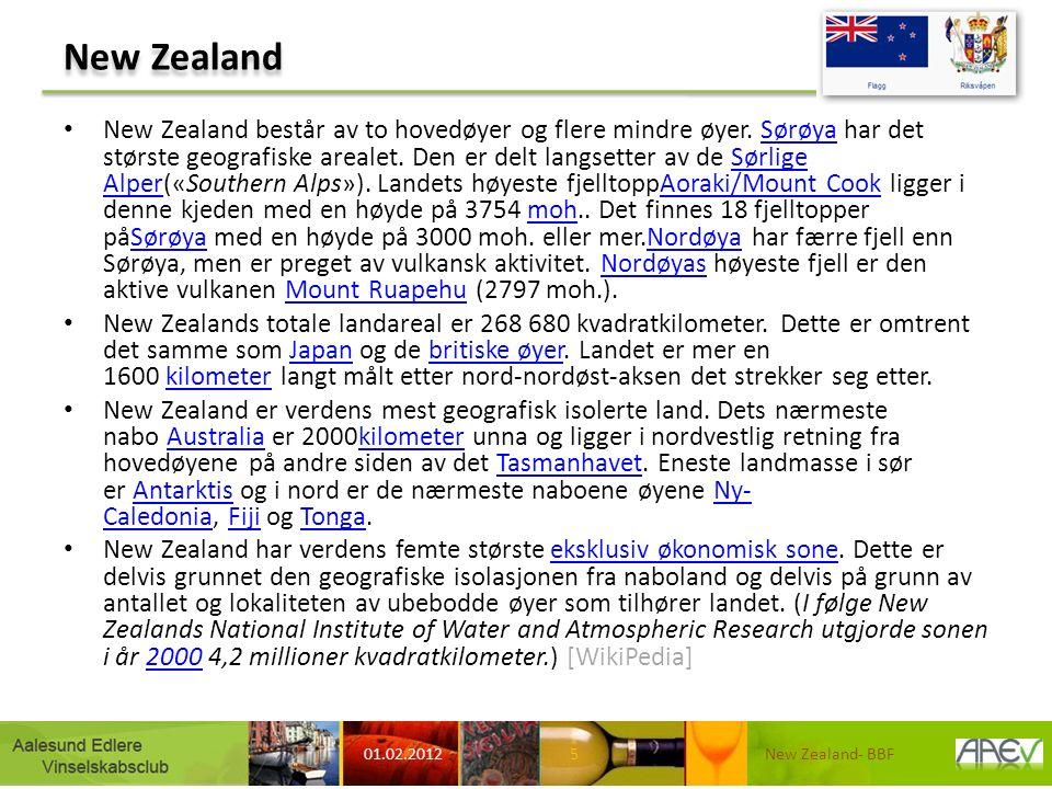 New Zealand New Zealand består av to hovedøyer og flere mindre øyer. Sørøya har det største geografiske arealet. Den er delt langsetter av de Sørlige