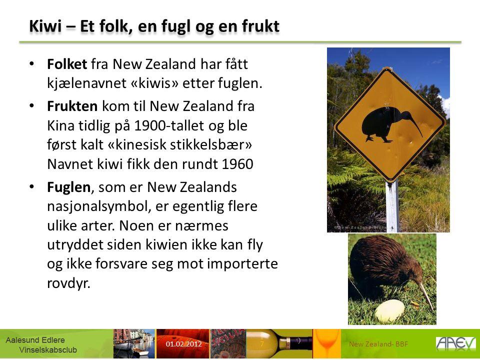 Kiwi – Et folk, en fugl og en frukt Folket fra New Zealand har fått kjælenavnet «kiwis» etter fuglen. Frukten kom til New Zealand fra Kina tidlig på 1