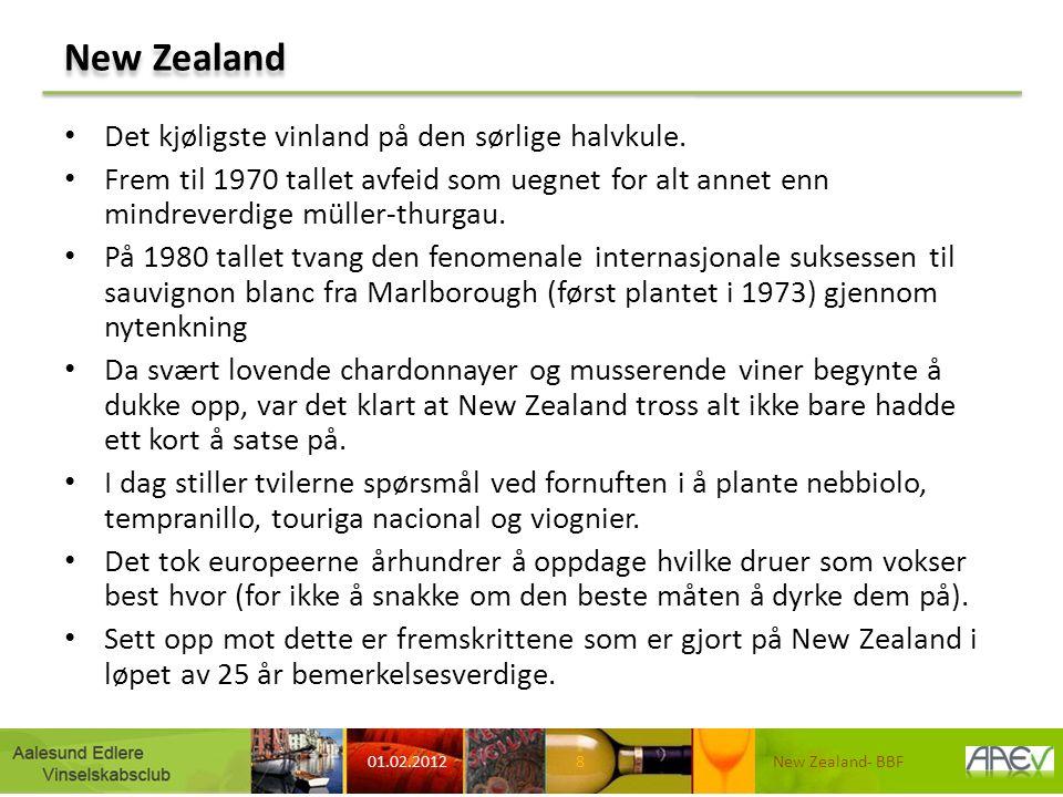 New Zealand Det kjøligste vinland på den sørlige halvkule. Frem til 1970 tallet avfeid som uegnet for alt annet enn mindreverdige müller-thurgau. På 1