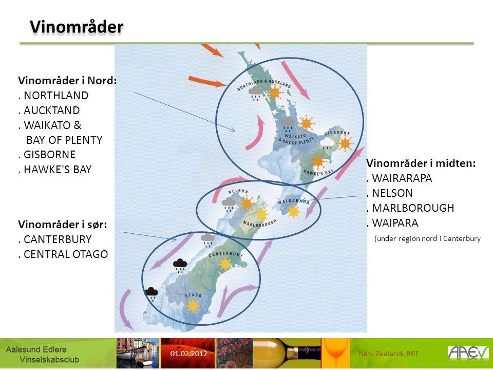 Vinområder 01.02.2012 New Zealand- BBF9 Vinområder i Nord:. NORTHLAND. AUCKTAND. WAIKATO & BAY OF PLENTY. GISBORNE. HAWKE'S BAY Vinområder i midten:.