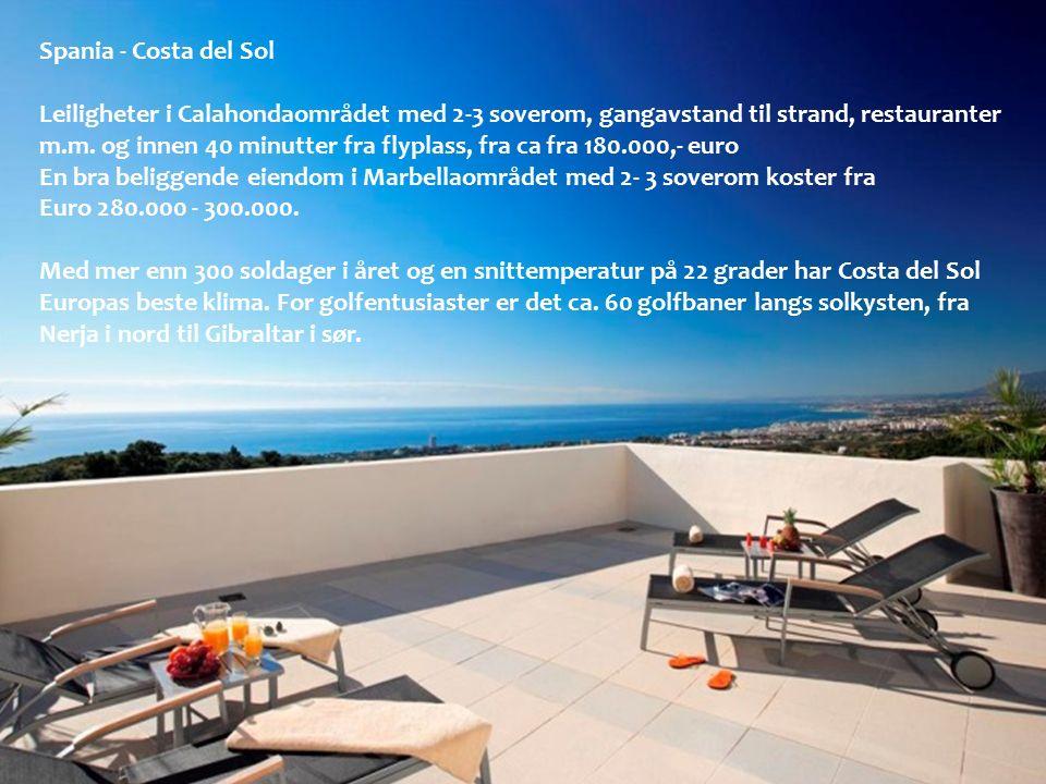 Spania - Costa del Sol Leiligheter i Calahondaområdet med 2-3 soverom, gangavstand til strand, restauranter m.m. og innen 40 minutter fra flyplass, fr