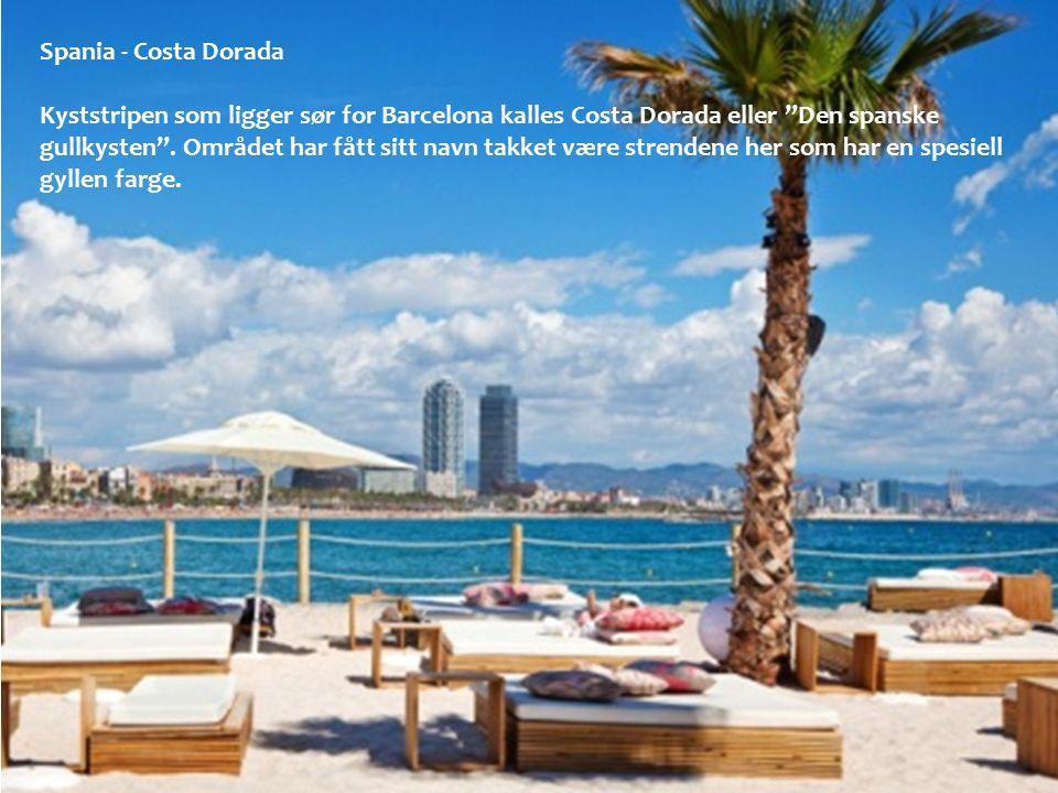 """Spania - Costa Dorada Kyststripen som ligger sør for Barcelona kalles Costa Dorada eller """"Den spanske gullkysten"""". Området har fått sitt navn takket v"""