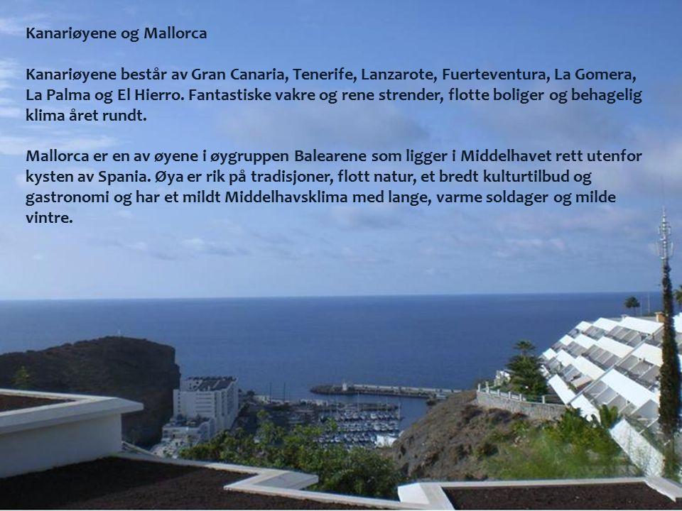 Kanariøyene og Mallorca Kanariøyene består av Gran Canaria, Tenerife, Lanzarote, Fuerteventura, La Gomera, La Palma og El Hierro.