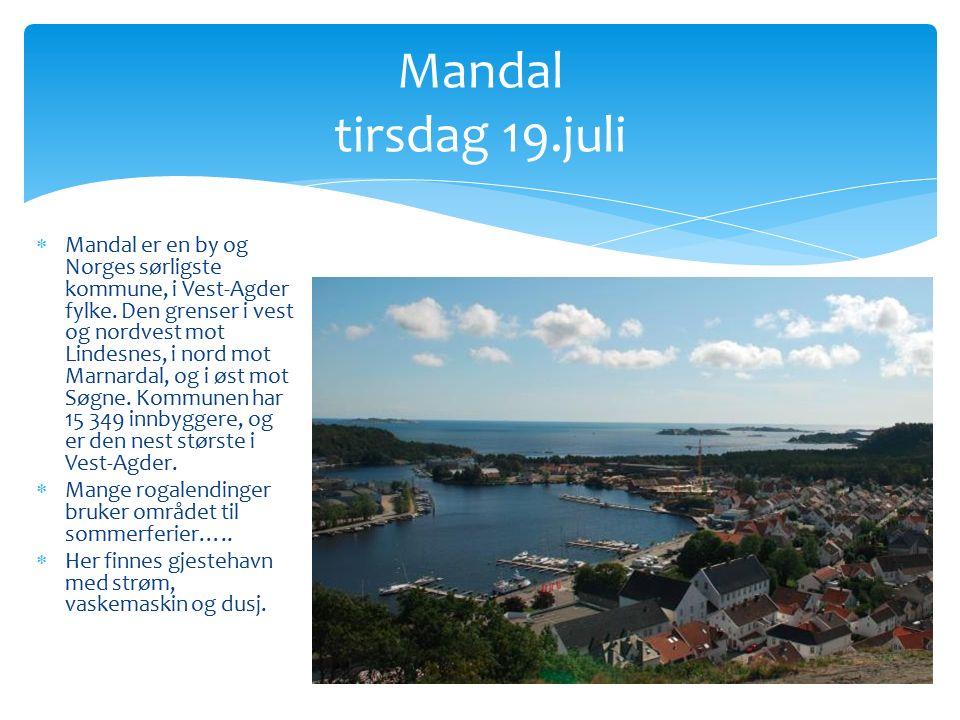  Mandal er en by og Norges sørligste kommune, i Vest-Agder fylke.