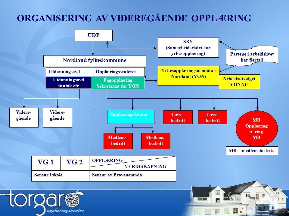 . UDF SRY (Samarbeidsrådet for yrkesopplæring) Partene i arbeidslivet har flertall Nordland fylkeskommune Utdanningsavd Opplæringssenteret Yrkesopplæringsnemnda i Nordland (YON) Opplæringskontor Lære- bedrift Medlems- bedrift Medlems- bedrift Videre- gående skole Videre- gående skole Lære- bedrift MB Opplæring s- ring MB MB = medlemsbedrift VG 2VG 1 OPPLÆRING VERDISKAPNING Arbeidsutvalget YONAU Sensur i skoleSensur av Prøvenemnda ORGANISERING AV VIDEREGÅENDE OPPLÆRING Utdanningsavd Inntak etc Fagopplæring Sekretariat for YON