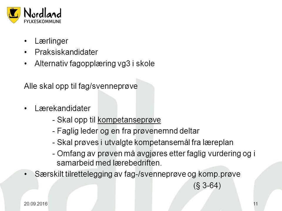 Lærlinger Praksiskandidater Alternativ fagopplæring vg3 i skole Alle skal opp til fag/svenneprøve Lærekandidater - Skal opp til kompetanseprøve - Fagl
