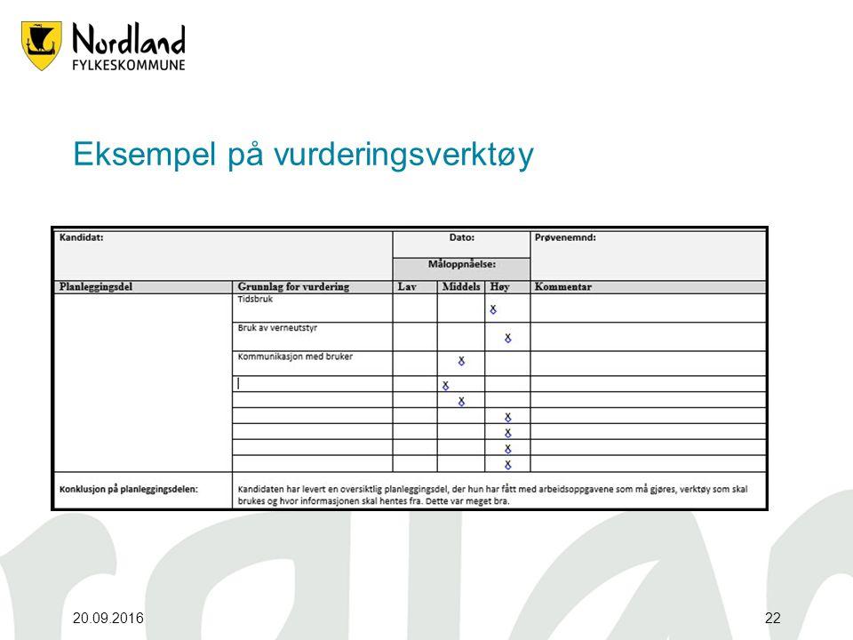 Eksempel på vurderingsverktøy 20.09.201622