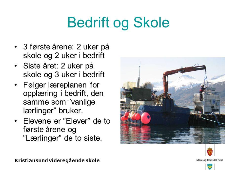 Kristiansund videregående skole Bedrift og Skole 3 første årene: 2 uker på skole og 2 uker i bedrift Siste året: 2 uker på skole og 3 uker i bedrift Følger læreplanen for opplæring i bedrift, den samme som vanlige lærlinger bruker.