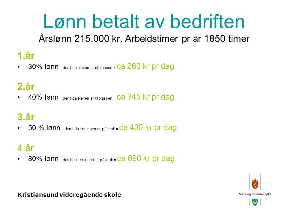 Kristiansund videregående skole Lønn betalt av bedriften Årslønn 215.000 kr.
