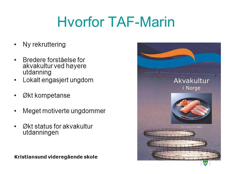 Kristiansund videregående skole Hvorfor TAF-Marin Ny rekruttering Bredere forståelse for akvakultur ved høyere utdanning Lokalt engasjert ungdom Økt kompetanse Meget motiverte ungdommer Økt status for akvakultur utdanningen