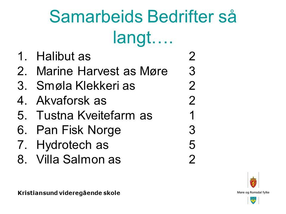 Kristiansund videregående skole Samarbeids Bedrifter så langt….