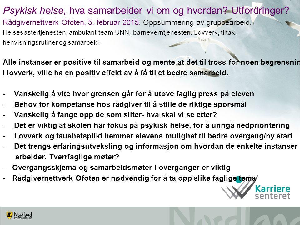 Psykisk helse, hva samarbeider vi om og hvordan? Utfordringer? Rådgivernettverk Ofoten, 5. februar 2015. Oppsummering av gruppearbeid. Helsesøstertjen