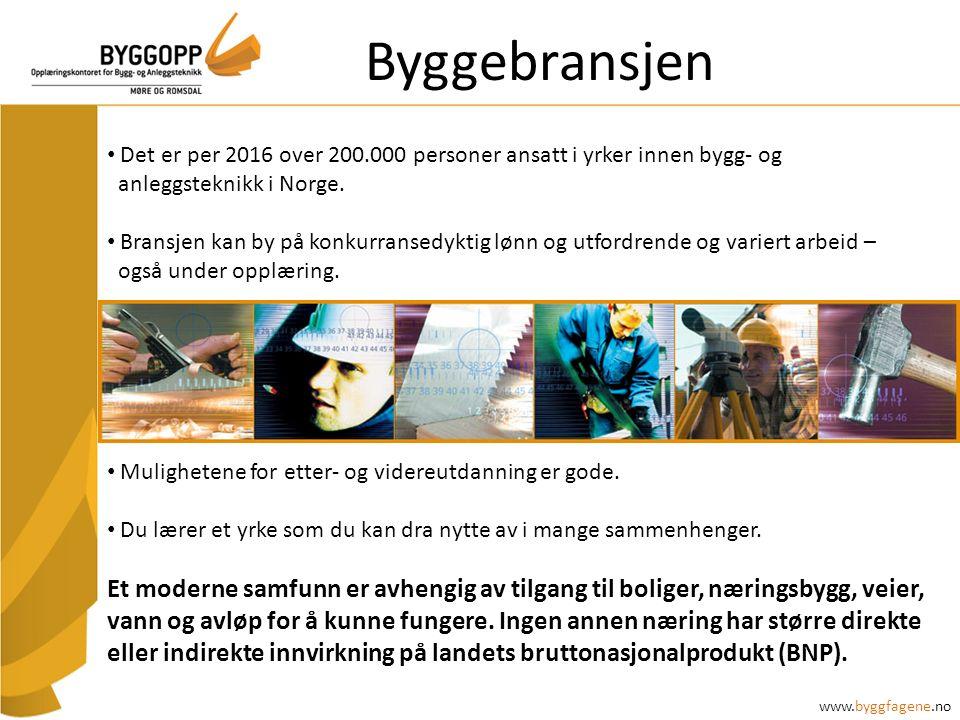 Byggebransjen Det er per 2016 over 200.000 personer ansatt i yrker innen bygg- og anleggsteknikk i Norge. Bransjen kan by på konkurransedyktig lønn og