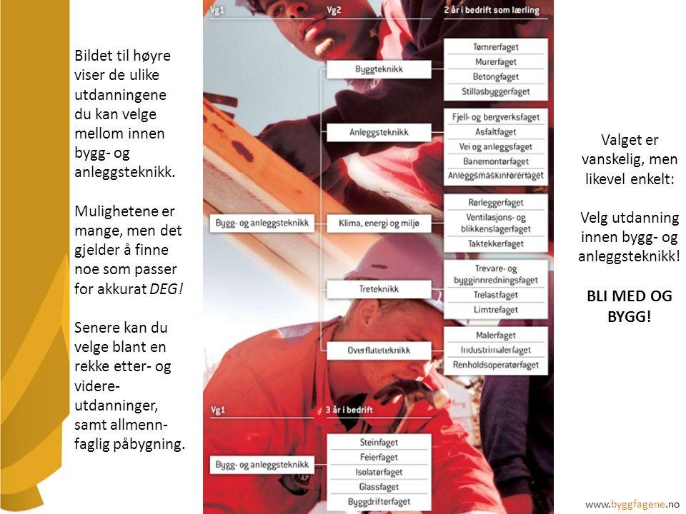 Bildet til høyre viser de ulike utdanningene du kan velge mellom innen bygg- og anleggsteknikk.