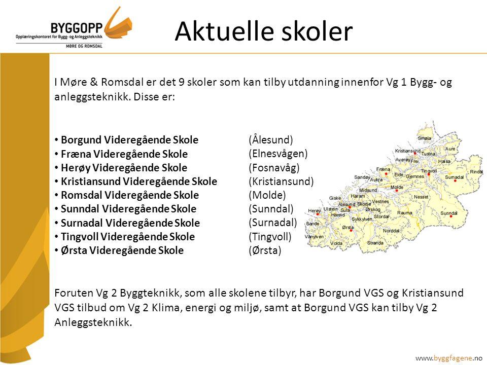 Aktuelle skoler I Møre & Romsdal er det 9 skoler som kan tilby utdanning innenfor Vg 1 Bygg- og anleggsteknikk.