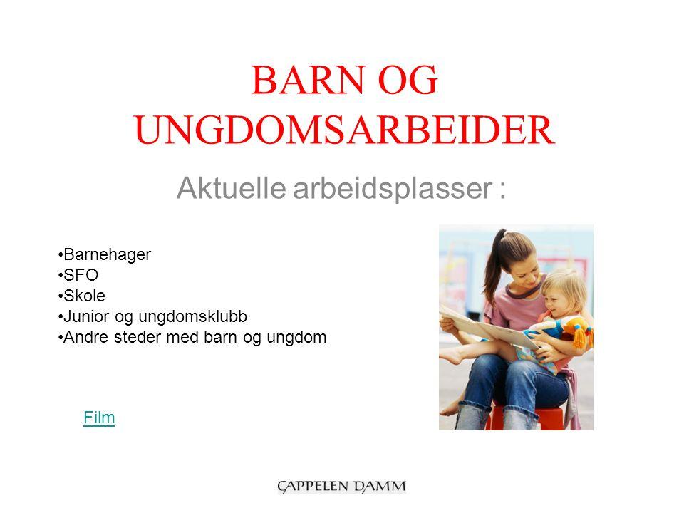 BARN OG UNGDOMSARBEIDER Aktuelle arbeidsplasser : Barnehager SFO Skole Junior og ungdomsklubb Andre steder med barn og ungdom Film