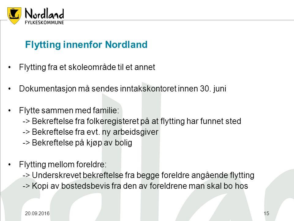 20.09.201615 Flytting innenfor Nordland Flytting fra et skoleområde til et annet Dokumentasjon må sendes inntakskontoret innen 30. juni Flytte sammen