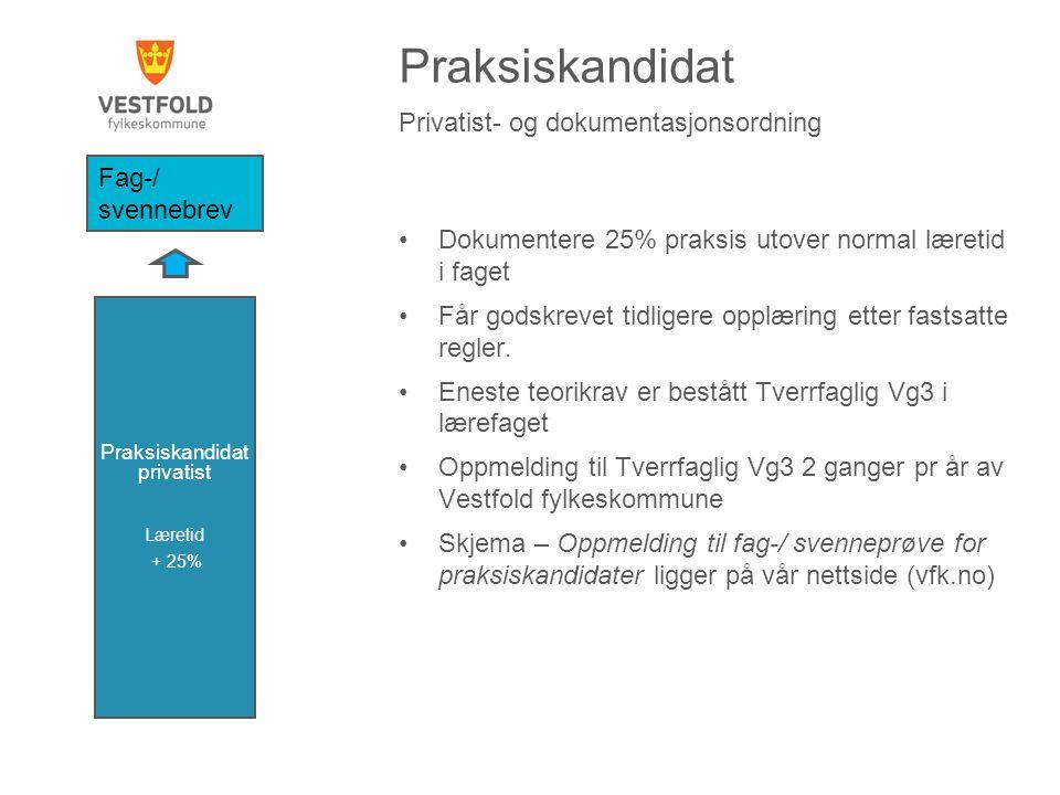 Praksiskandidat Privatist- og dokumentasjonsordning Dokumentere 25% praksis utover normal læretid i faget Får godskrevet tidligere opplæring etter fastsatte regler.