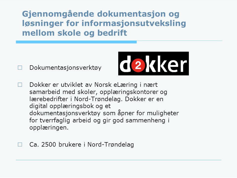  Dokumentasjonsverktøy  Dokker er utviklet av Norsk eLæring i nært samarbeid med skoler, opplæringskontorer og lærebedrifter i Nord-Trøndelag.