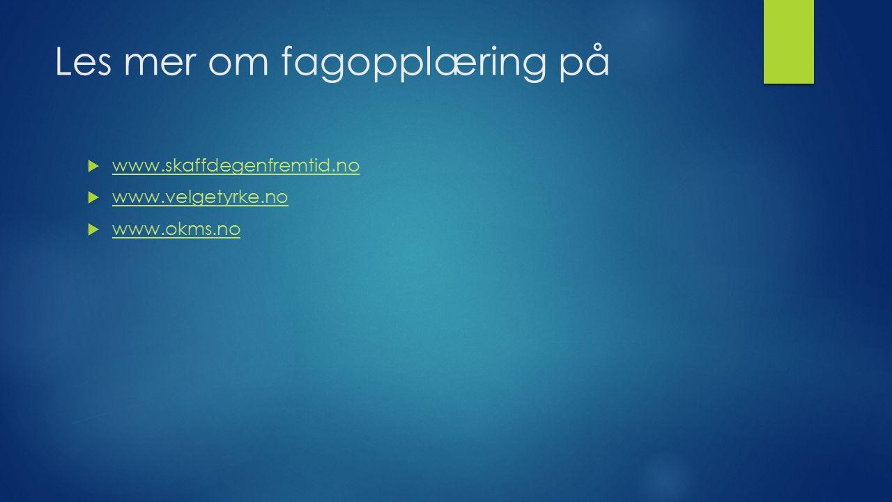 Les mer om fagopplæring på  www.skaffdegenfremtid.no www.skaffdegenfremtid.no  www.velgetyrke.no www.velgetyrke.no  www.okms.no www.okms.no