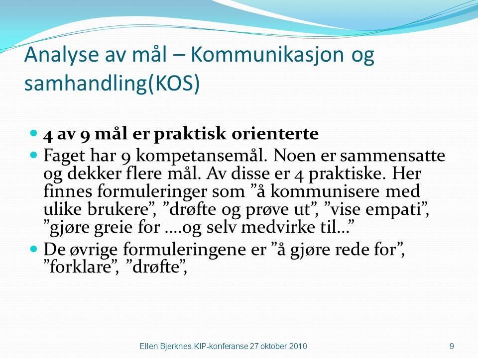 Analyse av mål – Kommunikasjon og samhandling(KOS) 4 av 9 mål er praktisk orienterte Faget har 9 kompetansemål.