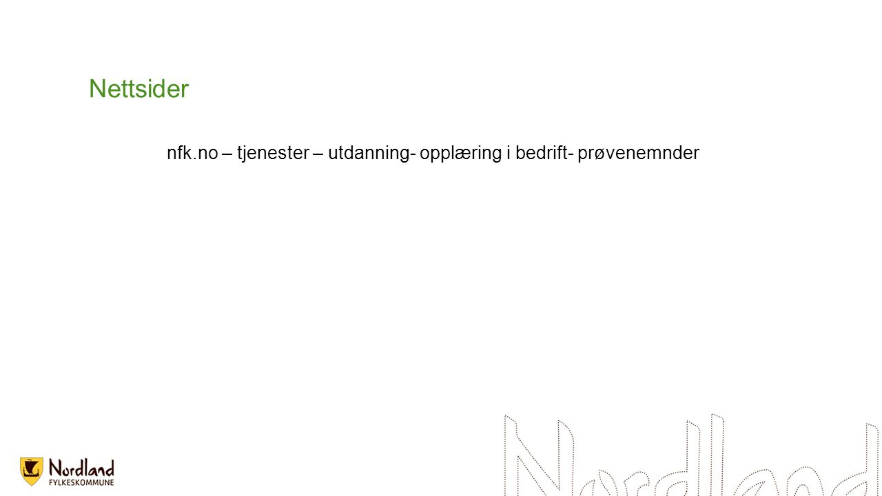 Nettsider nfk.no – tjenester – utdanning- opplæring i bedrift- prøvenemnder