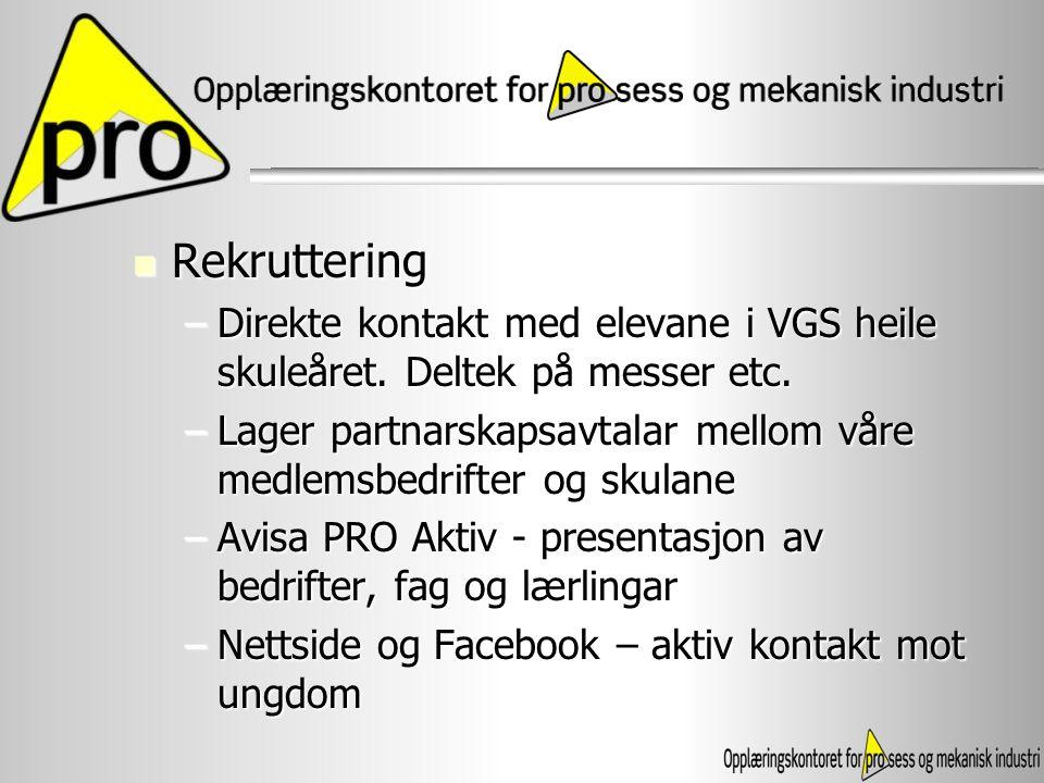 Rekruttering Rekruttering –Direkte kontakt med elevane i VGS heile skuleåret. Deltek på messer etc. –Lager partnarskapsavtalar mellom våre medlemsbedr