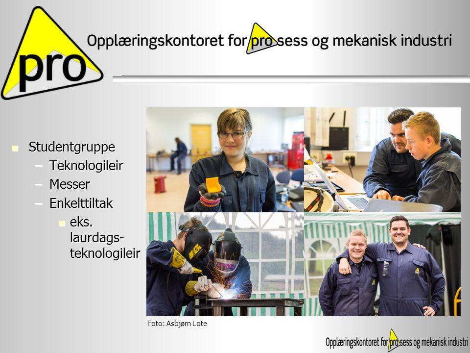Studentgruppe Studentgruppe –Teknologileir –Messer –Enkelttiltak eks. laurdags- teknologileir eks. laurdags- teknologileir Foto: Asbjørn Lote