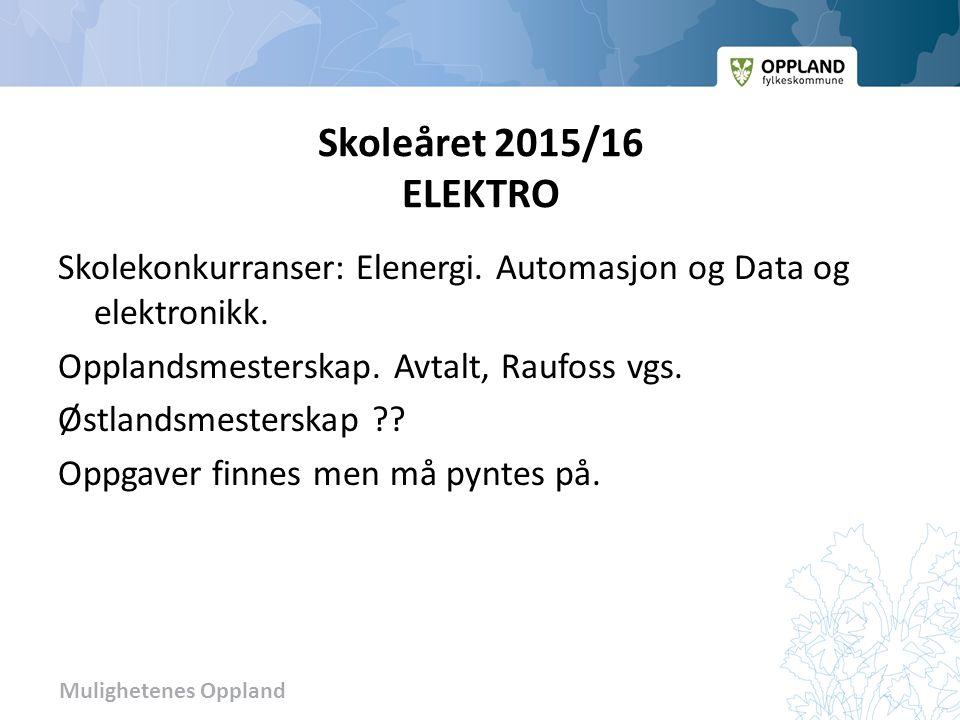Mulighetenes Oppland Skoleåret 2015/16 ELEKTRO Skolekonkurranser: Elenergi.