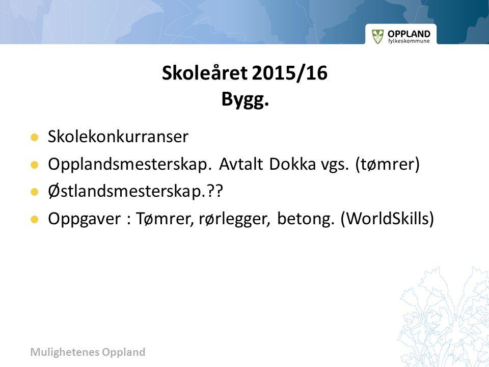 Mulighetenes Oppland Skoleåret 2015/16 Bygg. Skolekonkurranser Opplandsmesterskap.
