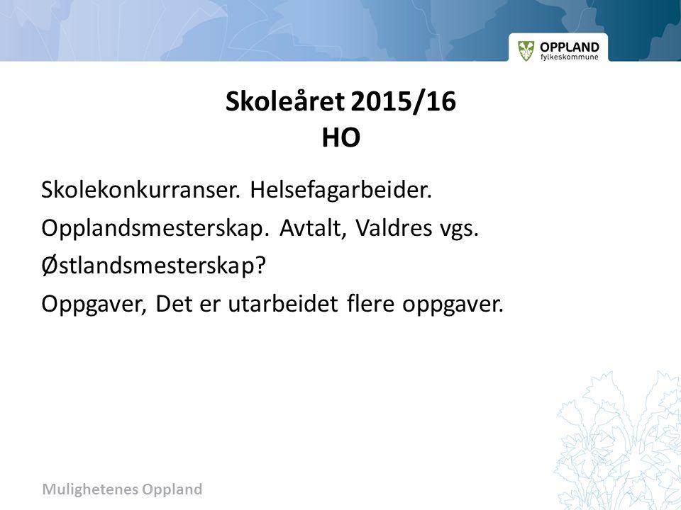 Mulighetenes Oppland Skoleåret 2015/16 HO Skolekonkurranser.