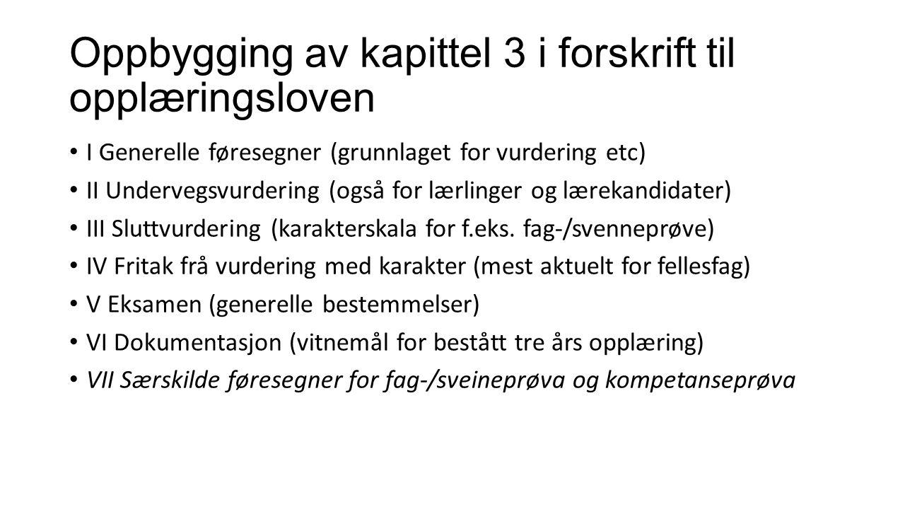 Oppbygging av kapittel 3 i forskrift til opplæringsloven I Generelle føresegner (grunnlaget for vurdering etc) II Undervegsvurdering (også for lærling