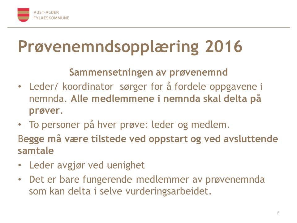 Prøvenemndsopplæring 2016 Prøvenemndas etterarbeid Protokoll – underskrift – evt.