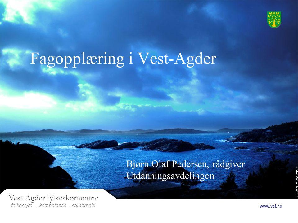 Foto: Peder Austrud Vest-Agder fylkeskommune folkestyre- samarbeid www.vaf.no - kompetanse Fagopplæring i Vest-Agder Bjørn Olaf Pedersen, rådgiver Utdanningsavdelingen