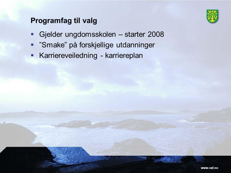 www.vaf.no Programfag til valg  Gjelder ungdomsskolen – starter 2008  Smake på forskjellige utdanninger  Karriereveiledning - karriereplan