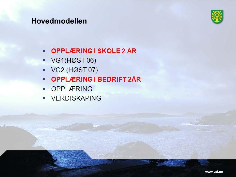 www.vaf.no Hovedmodellen  OPPLÆRING I SKOLE 2 ÅR  VG1(HØST 06)  VG2 (HØST 07)  OPPLÆRING I BEDRIFT 2ÅR  OPPLÆRING  VERDISKAPING