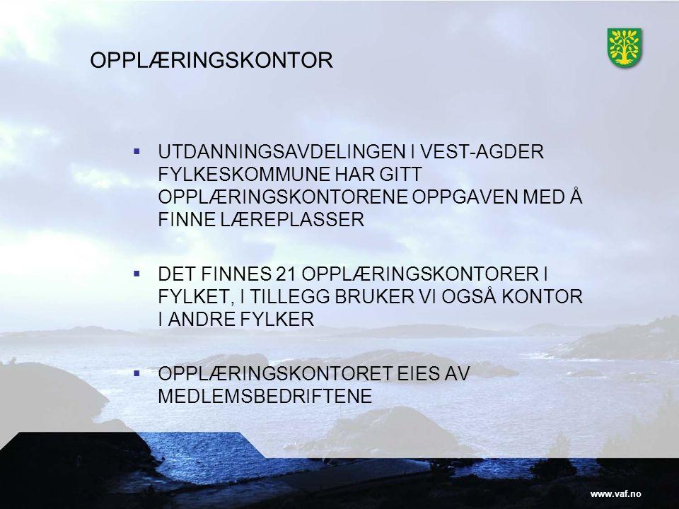 www.vaf.no OPPLÆRINGSKONTOR  UTDANNINGSAVDELINGEN I VEST-AGDER FYLKESKOMMUNE HAR GITT OPPLÆRINGSKONTORENE OPPGAVEN MED Å FINNE LÆREPLASSER  DET FINNES 21 OPPLÆRINGSKONTORER I FYLKET, I TILLEGG BRUKER VI OGSÅ KONTOR I ANDRE FYLKER  OPPLÆRINGSKONTORET EIES AV MEDLEMSBEDRIFTENE