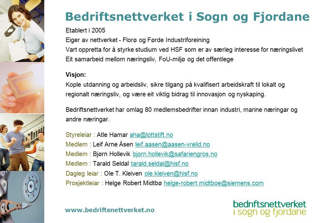 Bedriftsnettverket i Sogn og Fjordane Etablert i 2005 Eiger av nettverket - Florø og Førde Industriforeining Vart oppretta for å styrke studium ved HS