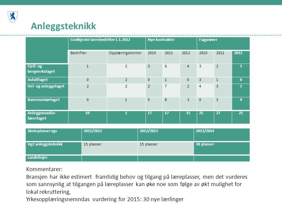 Anleggsteknikk Godkjente lærebedrifter 1.1.2012Nye kontrakterFagprøver BedrifterOpplæringskontor201020112012201020112012 Fjell- og bergverksfaget 123