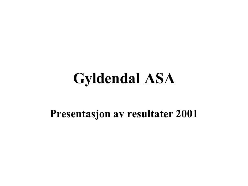 Forlagsentralen (50%) 20002001Endring Driftsinntekter96,387,1- 9,2 Driftsresultat0,6(5,2)- 5,8