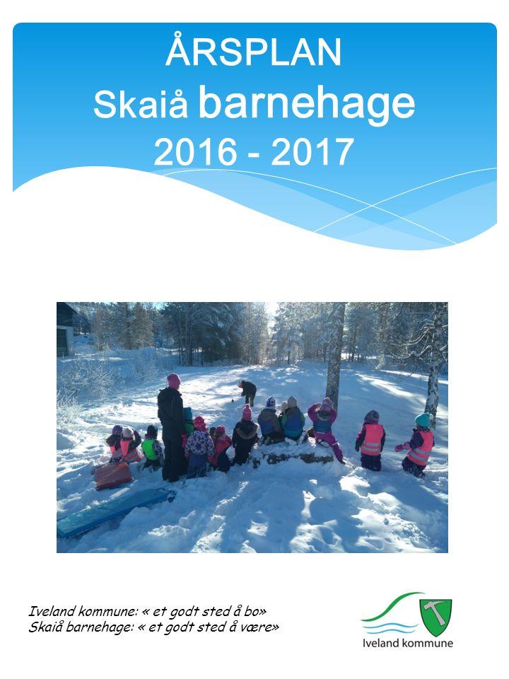 ÅRSPLAN Skaiå barnehage 2016 - 2017 Iveland kommune: « et godt sted å bo» Skaiå barnehage: « et godt sted å være»
