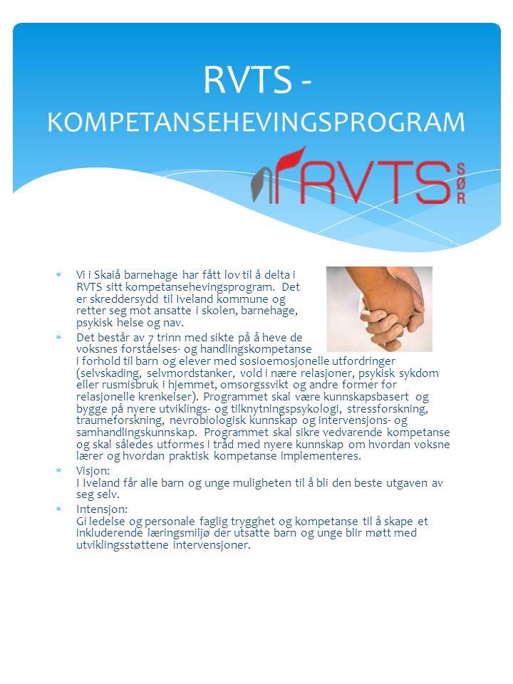  Vi i Skaiå barnehage har fått lov til å delta i RVTS sitt kompetansehevingsprogram.