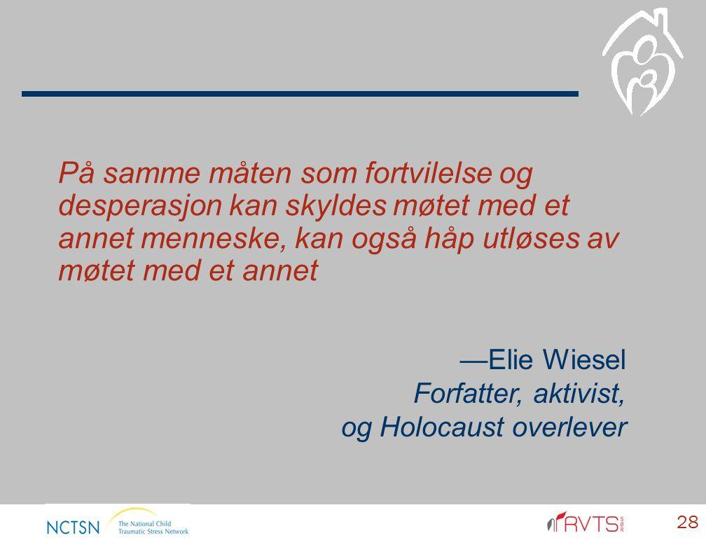 28 På samme måten som fortvilelse og desperasjon kan skyldes møtet med et annet menneske, kan også håp utløses av møtet med et annet —Elie Wiesel Forfatter, aktivist, og Holocaust overlever