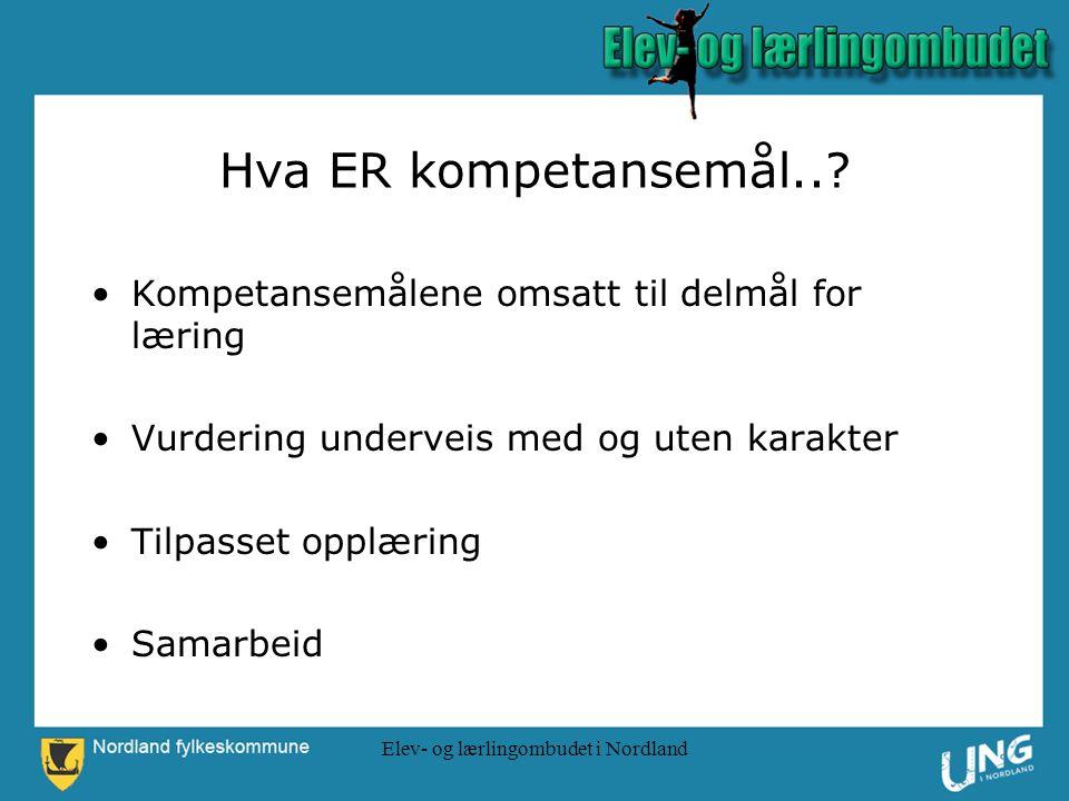 Elev- og lærlingombudet i Nordland Hva ER kompetansemål...