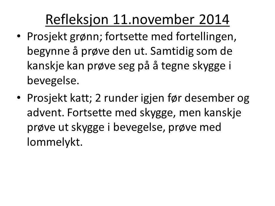 Refleksjon 11.november 2014 Prosjekt grønn; fortsette med fortellingen, begynne å prøve den ut.